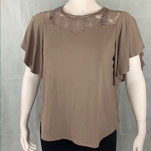 NWOT Worthington 1X tan top with lace design